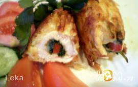 Куриное филе со шпинатом в картофельной шубке