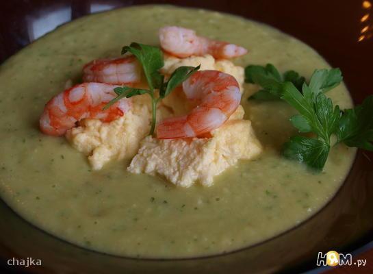Суп из авокадо с гарниром