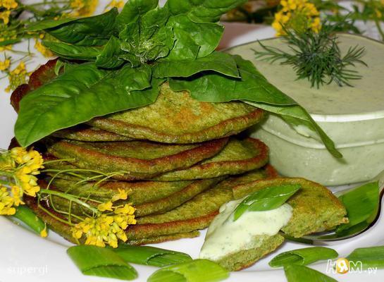 Рецепт Шпинатные оладьи с брынзой