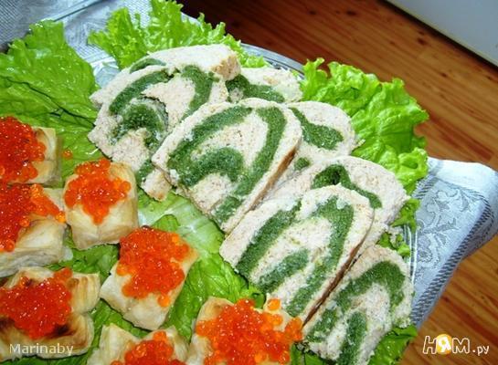 Рыбный рулет-суфле со шпинатом