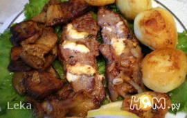 Фаршированная говядина фламбе с овощами