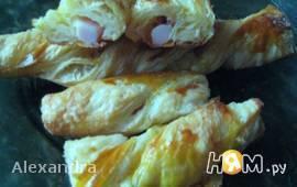 Косички с сыром и копчёной курицей