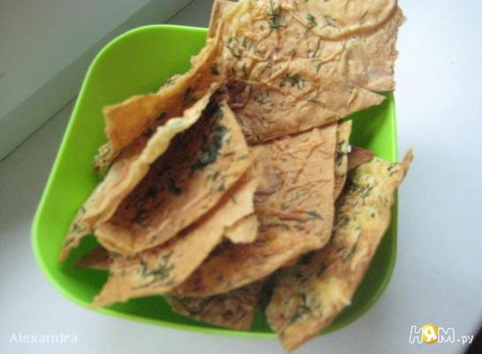 Сырные чипсы из лаваша с зеленью