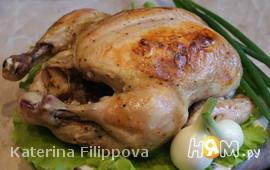 Цыпленок с печеным чесноком
