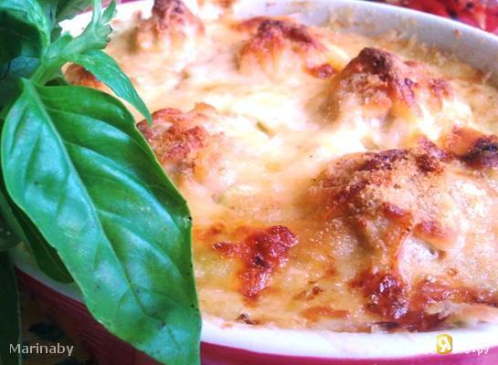 Суфле из  кабачков с  куриными фрикадельками