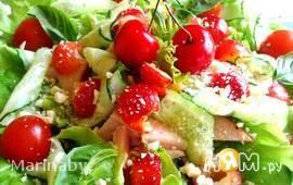 Салат из черешни с ветчиной