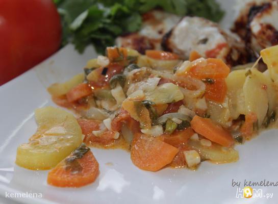 Овощное рагу с кинзой