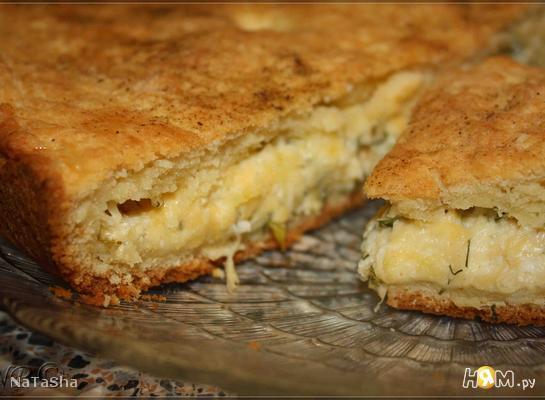 """Пирог на твороге с сыром или """"Сыр в квадрате"""""""