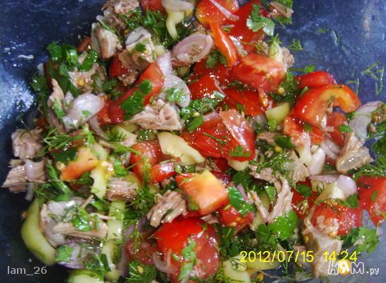 Рецепт Салат с говядиной, помидором и сладким перцем