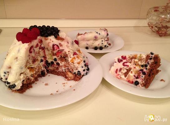 Рецепт Легкий фруктово-ягодный торт без выпечки