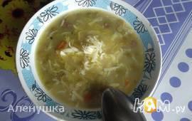 Суп с колбасой и зеленым горошком
