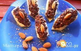Бананы, фаршированные шоколадом и орехами