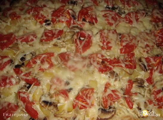 """Пицца """"Ориентале"""" с белым соусом"""