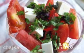 """Салат с арбузом и помидорами """"Август"""""""