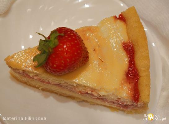 Рецепт Творожный пирог с клубничным топпингом