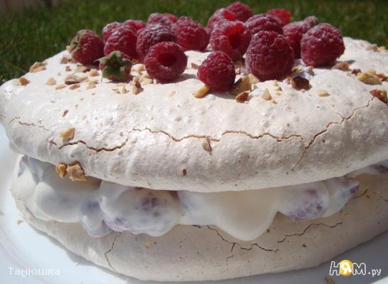 Рецепт Торт-безе с творожно-малиновой начинкой