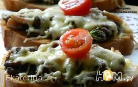 Сырные гренки с грибами