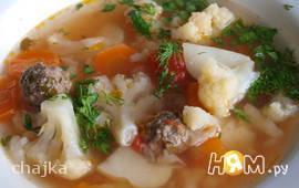 Овощной суп с фрикадельками диетический
