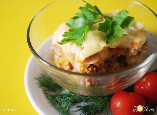 Рецепт Запеченное овощное рагу с мясным фаршем