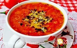 Острый гречневый суп с помидорами и пармезаном