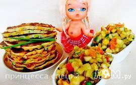 Кукурузные блинчики с сальсой из груши и авокадо