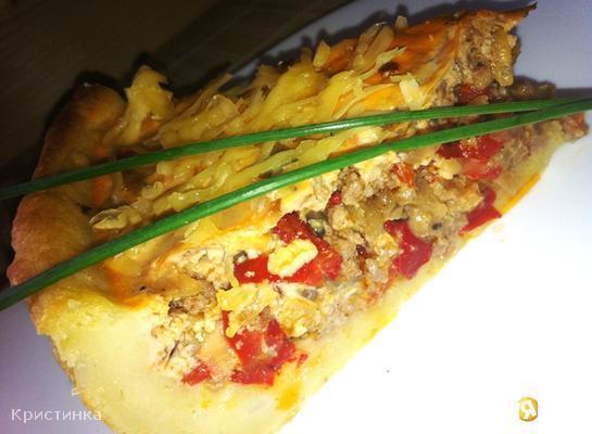 Картофельно - мясной пирог с болгарским перцем