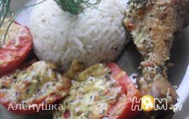Хрустящая курочка с сыром и томатами
