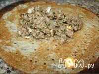 Приготовление блинчиков с мясом и сыром: шаг 6
