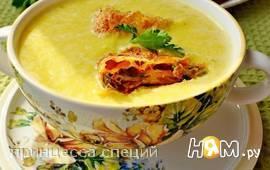 Крем-суп из тыквы с сырными рулетами