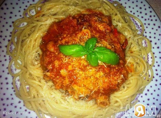 Рецепт Спагетти с морепродуктами и тунцом