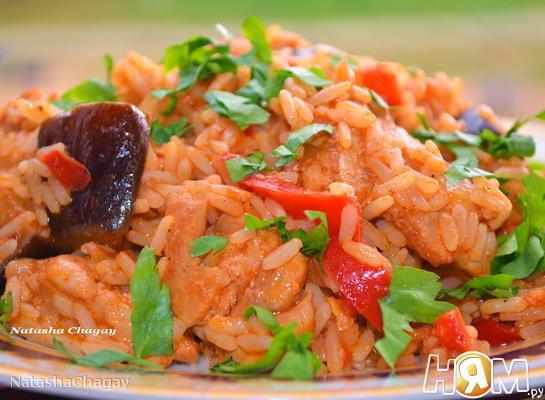 Курица с рисом и баклажанами