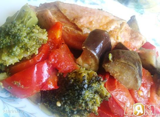 Рецепт Тушенные овощи с курицей