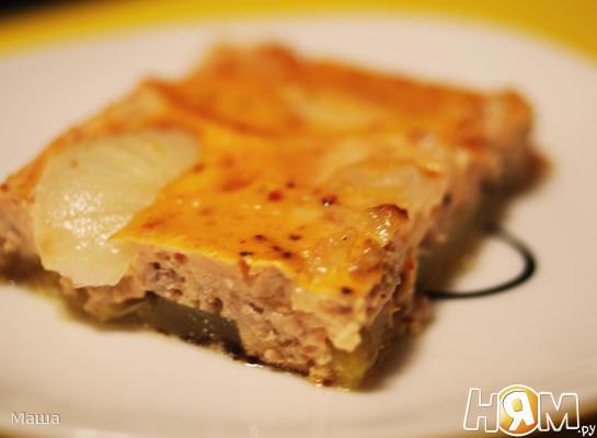 Рецепт Кабачки с мясом,запеченные в омлете