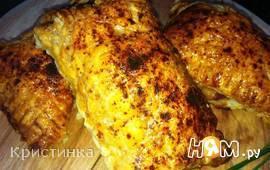 Пирожки слоеные с ветчиной,сыром и луком