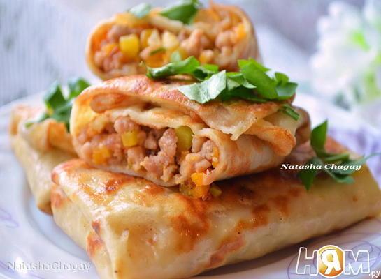 Рецепт Блинчики с мясом и тыквой