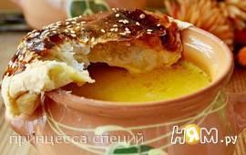 Тыквенный суп в горшочках с креветками