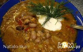 Суп с фасолью и орехами