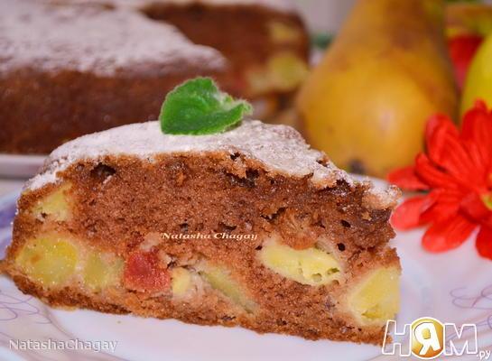 Пирог с яблоком, грушей и изюмом