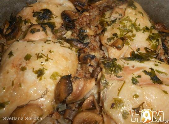 Гречка с курицей, томленные в духовке