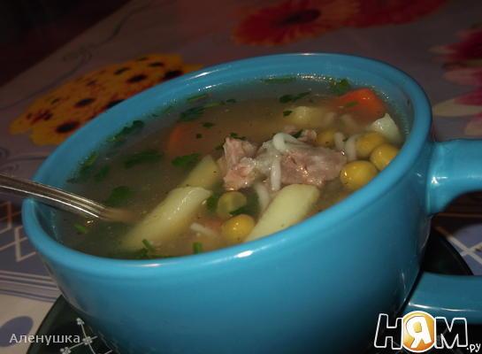 Рецепт Картофельный суп с зеленым горошком