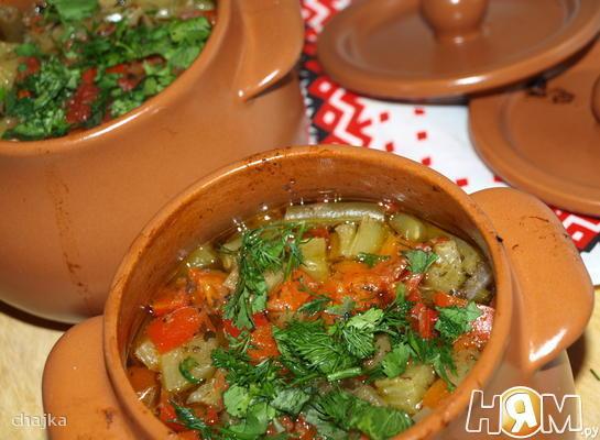 Рецепт Говядина с овощами в горшочках