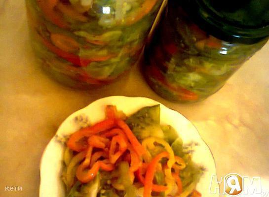 """Салат """"Охотничий"""" с зелеными помидорами"""