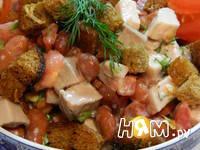 Приготовление салата мясного с фасолью: шаг 4