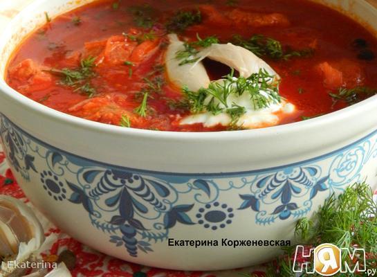 Рецепт Борщ полтавский с галушками