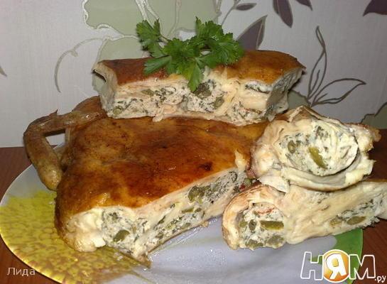 Рецепт Курица,фаршированная блинчиками