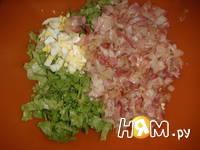 Приготовление зеленого салата с беконом: шаг 8
