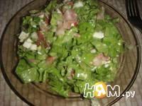 Приготовление зеленого салата с беконом: шаг 9