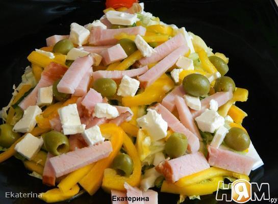 Рецепт Салат овощной с бужениной и пикантной заправкой