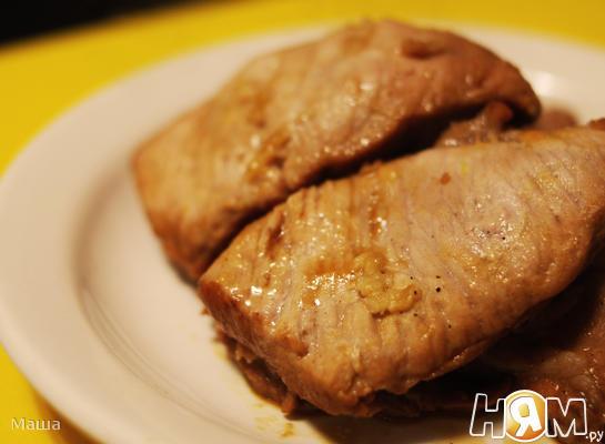 Мясо,маринованное в соево-горчичном соусе