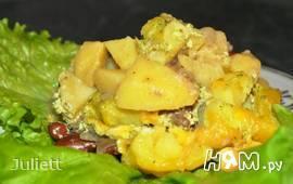 Картофель с говядиной,фасолью и опятами